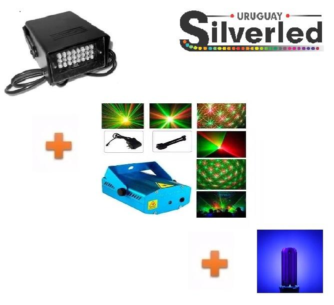 Combo Nº4 -> Lámpara Luz Negra +Flash +Laser Multipunto